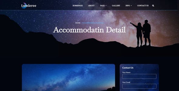 Lumieree -  Adventure Travel & Night Camping Elementor Template Kit