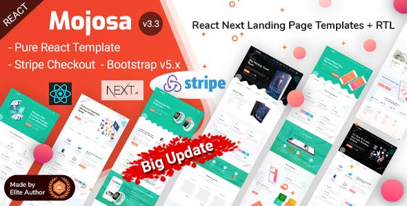 Mojosa - React Next Multipurpose Landing Page Template