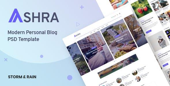 Ashra - Modern Personal Blog Psd Template