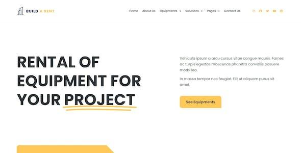 Build-A-Rent - Construction Equipment Rental Elementor Template Kit