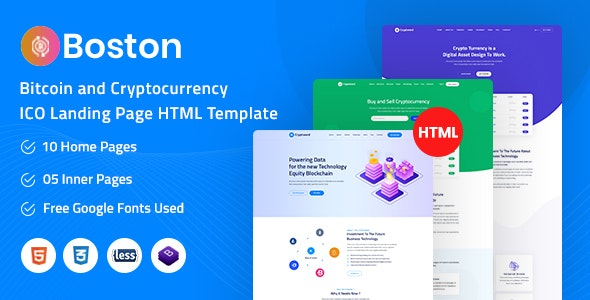 Boston - Bitcoin & Cryptocurrency ICO Landing Page HTML Template - Technology Site Templates
