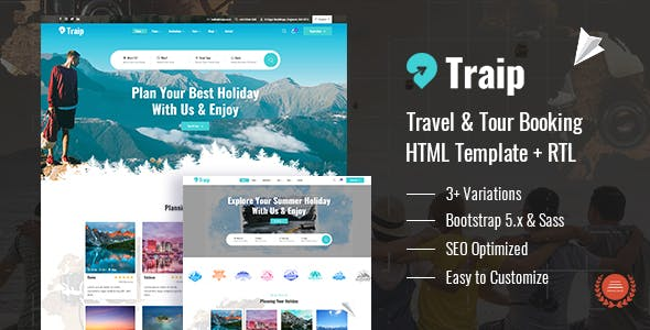 Traip - Travel & Tour Booking HTML Template