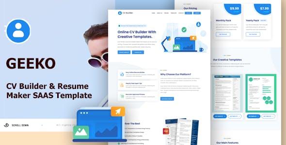 Geeko - CV Builder & Resume Maker Bootstrap Template