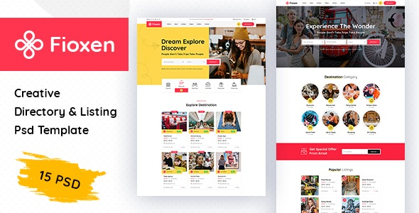 Fioxen - Directory & Listings PSD Template - Corporate Photoshop