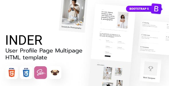 Inder - User Profile Page HTML5 Template