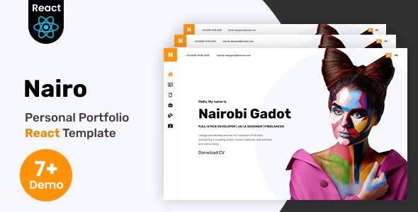 Nairo - Personal Portfolio React Template + RTL - Virtual Business Card Personal