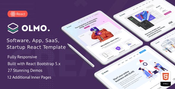 OLMO - React Landing Page Templates with Next JS