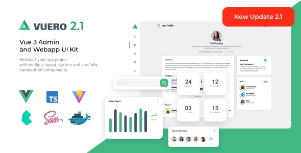 Vuero - VueJS 3 Admin and Webapp UI Kit