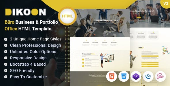 Dikoon – Corporate Business & Portfolio Büro Office HTML Template