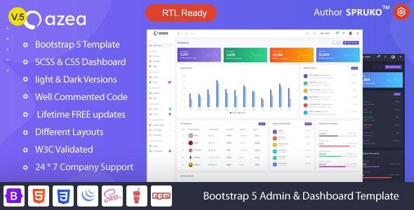 Azea – Bootstrap 5 Admin & Dashboard Template - Admin Templates Site Templates