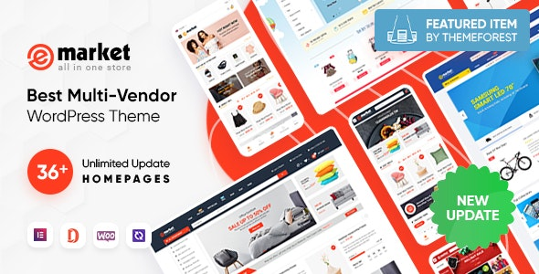 eMarket - All-in-One Multi Vendor MarketPlace Elementor WordPress Theme (36 Indexes, Mobile Layouts) - WooCommerce eCommerce