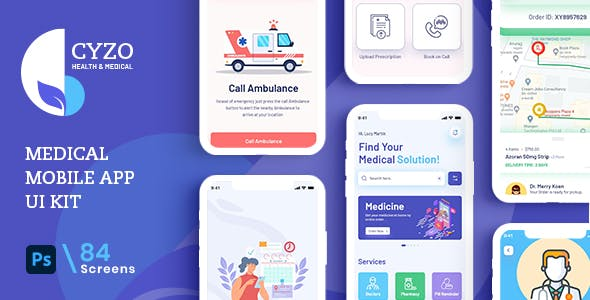 CYZO | Medical App UI Kit for Photoshop