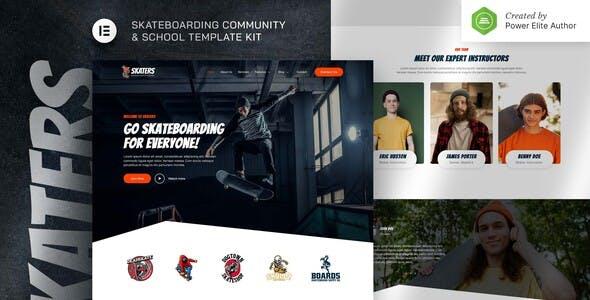 Skaters – Skateboarding Community & Club Elementor Template Kit