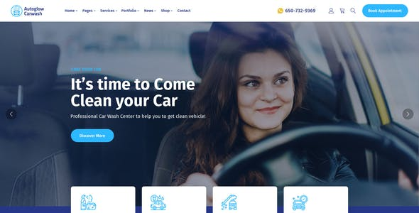 Autoglow - Car Washing Service & Auto Detail PSD Template