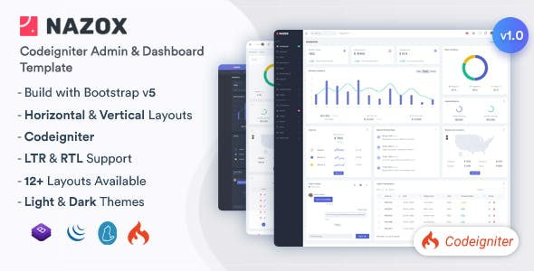 Nazox - CodeIgniter Admin & Dashboard Template