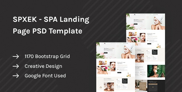 SPXEK - Spa & Beauty Landing Page PSD Template - Health & Beauty Retail