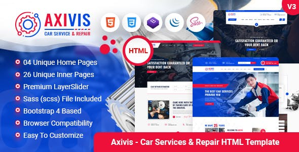 Axivis - Car Services and Repair HTML Template
