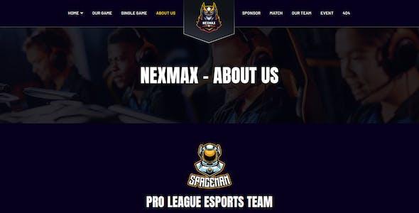 Nexmax - Esports & Gaming Elementor Template Kit