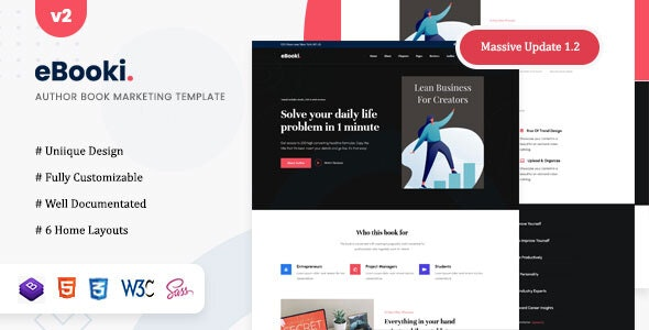 eBooki- Author Book Marketing Template - Technology Site Templates