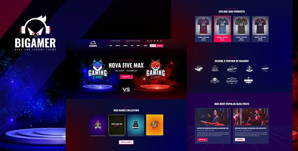 Bigamer - Online eSports And Gaming Tournaments HTML Template