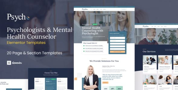 Psych - Mental Health Counselor Elementor Template Kit