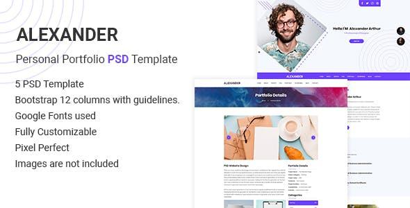Alexander – Personal Portfolio PSD Template