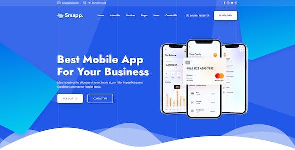 Smapp - App Landing Page PSD Template