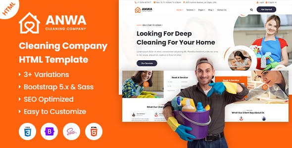 Anwa - Cleaning Company HTML Template
