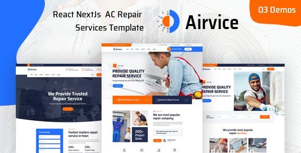 Airvice - React NextJs  AC Repair Services Template