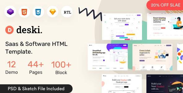 Deski - Saas & Software HTML  + RTL Template