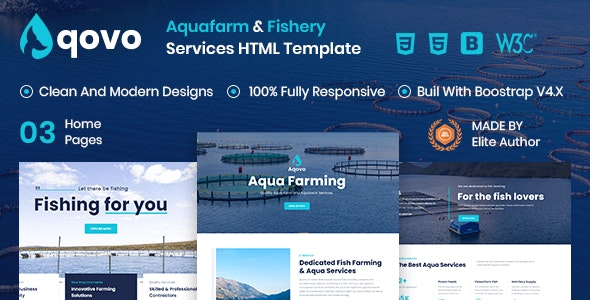Aqovo - Aqua Farm & Fishery Services HTML Template - Business Corporate