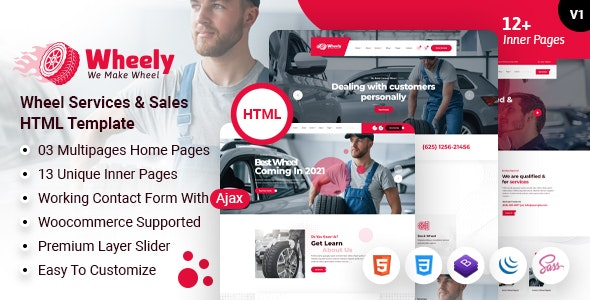 Wheely - Wheel Car Automobile Repair & Tires Services HTML Template - Retail Site Templates