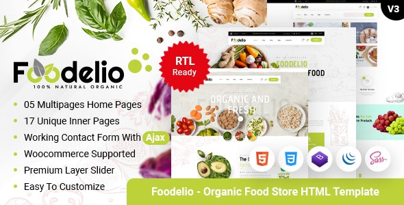 Foodelio - Organic Food & Nutrition Bio Store RTL Responsive HTML Template - Food Retail