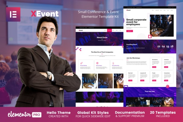 XEvent - Small Conference & Event Elementor Template Kit - Events & Entertainment Elementor
