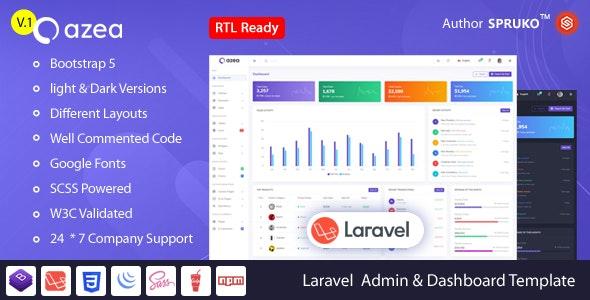 Azea – Laravel Admin & Dashboard Template - Admin Templates Site Templates