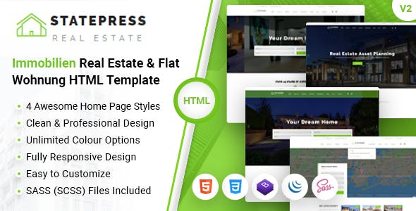 StatePress - Real Estate Business Company Flat & Immobilien HTML Template