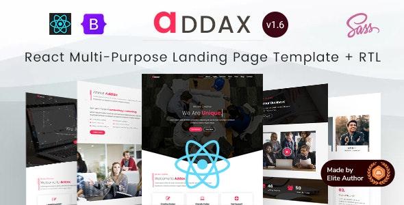 Addax - React Multi-Purpose Landing Page Template - Business Corporate