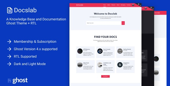Docslab - a Knowledge Base and Documentation Ghost Theme + RTL - Ghost Themes Blogging