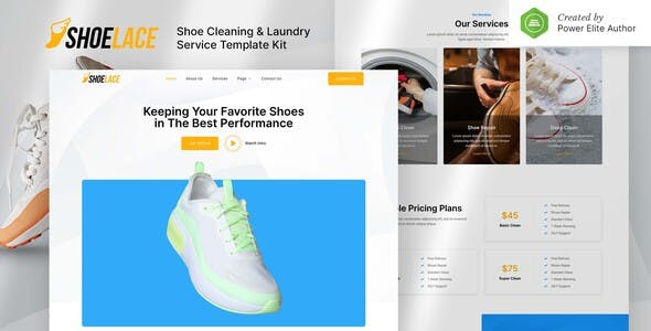 Shoelace – Shoes Cleaning & Laundry Service Elementor Template Kit