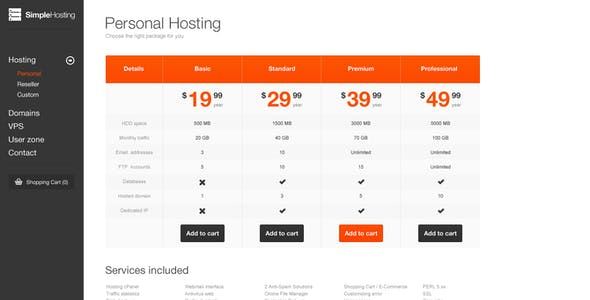 Simple Hosting - Modern template