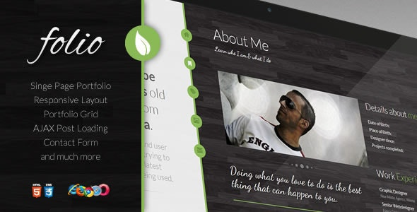 Folio - a single page portfolio template - Portfolio Creative