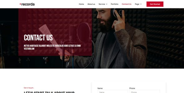 Recorda - Recording & Music Studio Elementor Template Kit