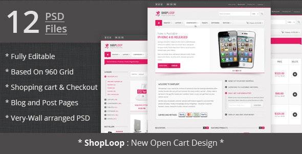 Shoploop: clean and modern open cart PSD - Shopping Retail
