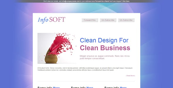 InfoSoft - Professional Email Template  - 5 Layout