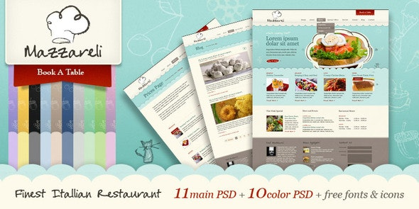 Mazzareli - Restaurant & Cafe PSD Template - Restaurants & Cafes Entertainment