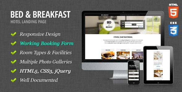 Bed & Breakfast - Hotel Landing Page - Travel Retail