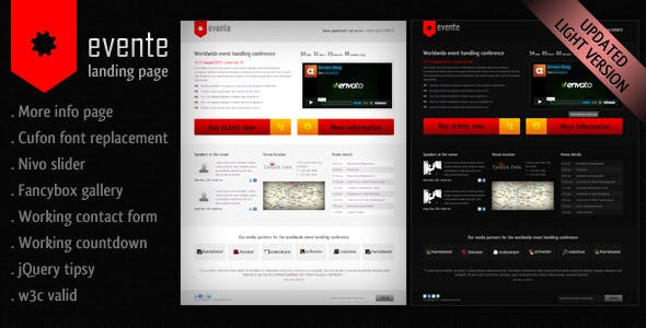 Evente Landing Page