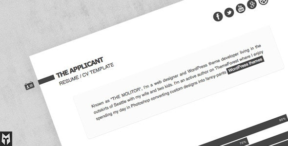 The Applicant: Resume / CV HTML Template - Resume / CV Specialty Pages
