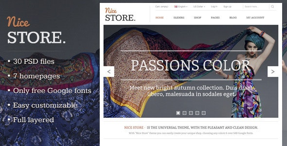 Nice Store - eCommerce PSD Template - Fashion Retail