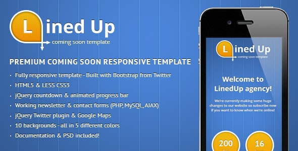LinedUp Responsive Coming Soon Template - Under Construction Specialty Pages